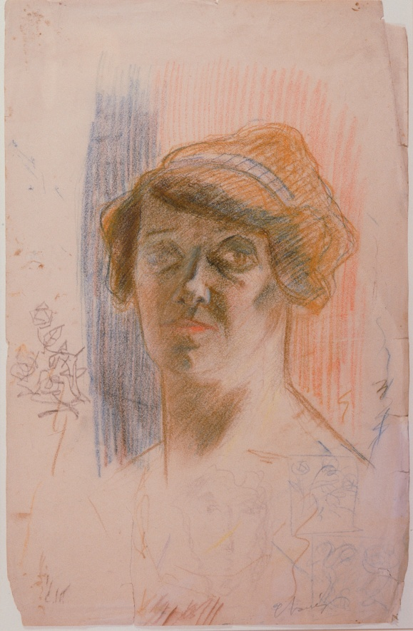 Portait of his mother,colored pencil on paper, around 1905.