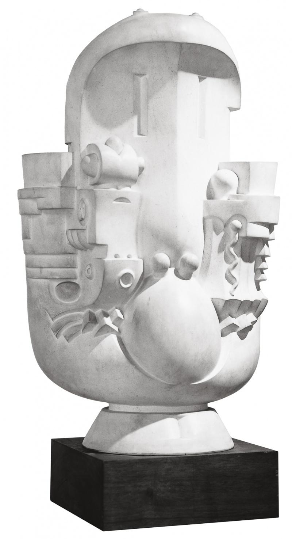 Jean Chauvin - Sculpteur - Narcisse à la fontaine - pierre - 1962