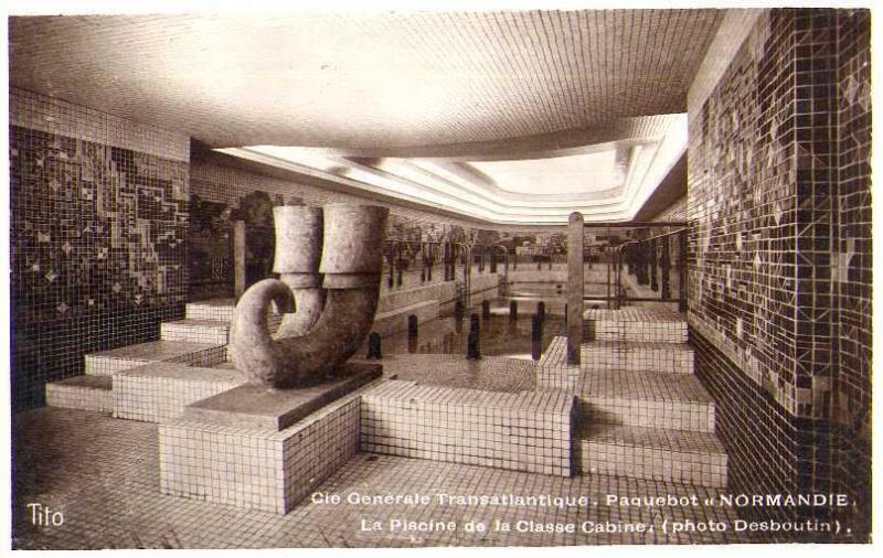 Jean Chauvin - Sculpteur - Piscine intérieure dupaquebot Normandie - Bronze - 1935